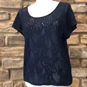 Lucky Brand Lace Crochet Knit Top Intricate detail